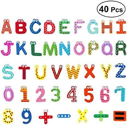 OUNONA Letras y números magnéticos Números de dibujos animados de ...