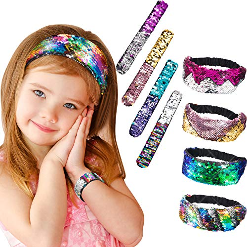 Jovitec 8 Pieces Mermaid Reversible Sequin Headbands Bracelets Sets for Women Girls including 4 Pieces Elastic Stretch Sparkly Sequin Glitter Headbands and 4 Pieces Magic Flip Sequin Snap Bracelet