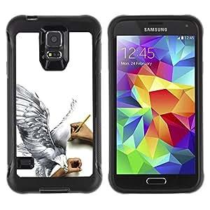 LASTONE PHONE CASE / Suave Silicona Caso Carcasa de Caucho Funda para Samsung Galaxy S5 SM-G900 / Eagle Art Drawing Pencil 3D Big Bird Fly