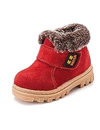 Bumud Boy's Girl's Leather Waterproof Winter Boots Warm Flat Shoe (Toddler/Little Kid)
