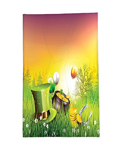 Interestlee Fleece Throw Blanket St. Patricks Day Decor Magical Scene Party Celebration Meadow Balloons Hat And Gold Green Purple and (St Patricks Day Coloring Sheet)