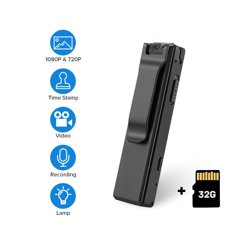 BOBLOV 1080P Mini Body Cameras with Audio Wearable Video Recorder Back Clip Easy to Operate for Teaching/Tour/Lecture/Interview/Baby Monitor Record (with 32G Card) by BOBLOV