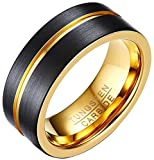 AZYOUNG Black Brushed Flat Top Center Golden Grooved Inner Ring Tungsten Carbide Band - 8MM (10)