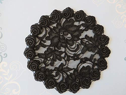 (Handmade black lace doily head cover with flower trim (with decorative bobby pin) (Style 119) Exclusively by Elegant Doily)