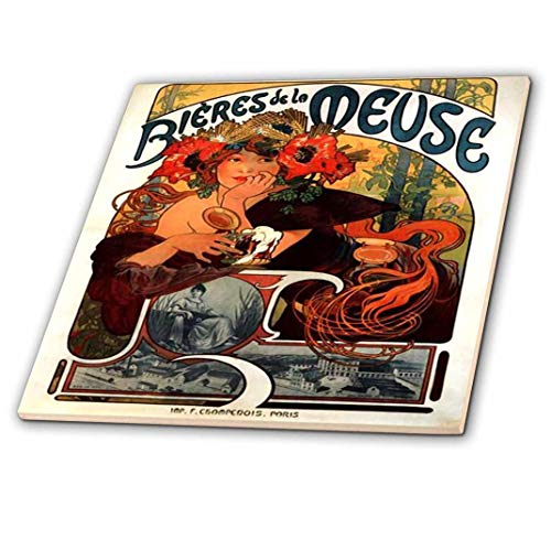 (3dRose Print of Muchas French Beer Ad - Ceramic Tile, 6-Inch (ct_204279_2))
