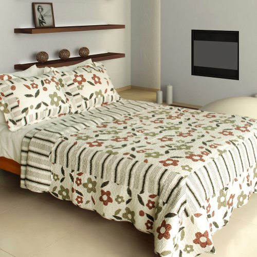 [Dance Of The Fireflies ] Cotton 3PC Vermicelli-Quilted Printed Quilt Set (Full/Queen Size) by Blancho Quilt
