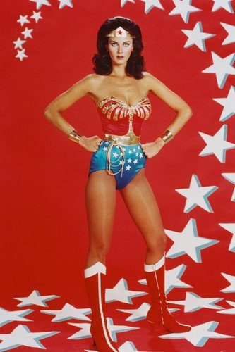 Lynda Carter as Wonder Woman 24X36 Poster full length pin-up with stars backdrop from Silverscreen