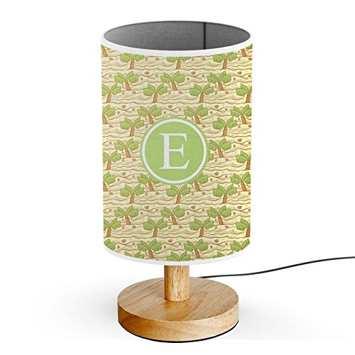 Base Outlets ([ INITIAL LETTER E ] Monogram Name USB POWERED Wood Base Desk Table Bedside Lamp [ Hand Drawn Palm Trees Beach ])