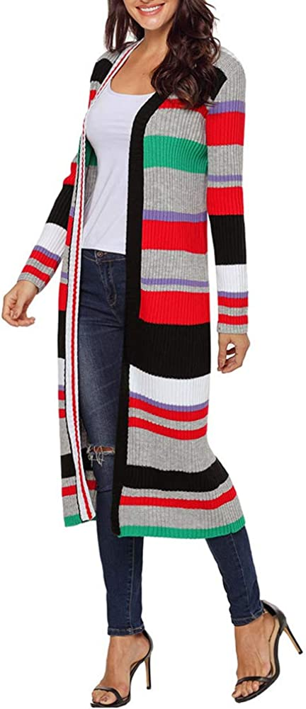 Uni Clau Womens Casual Long Open Front Cardigan Striped Color Block Knit Sweater Coat Outwear