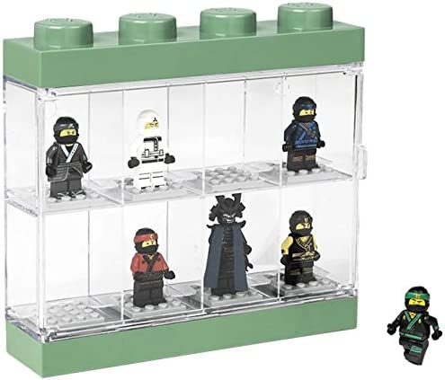 LEGO Ninjago Movie Minifigure Display Case For 8 Minifigures, Stackable Box with Compartments, For Wall or Desk, Transparent/ Green, 151 - Sand Green