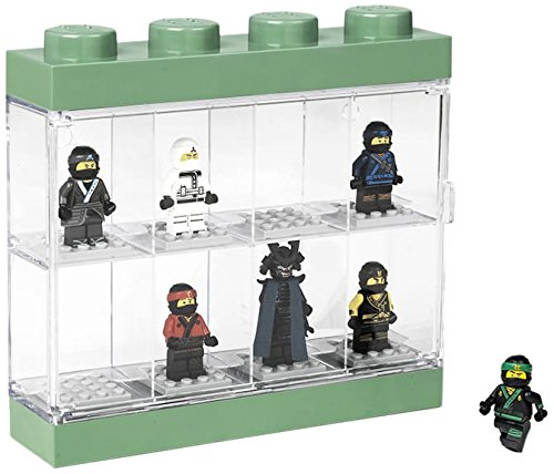 LEGO Ninjago Movie Minifigure Display Case For 8 Minifigures, Stackable Box with Compartments, For Wall or Desk, Transparent/ Green, 151 - Sand Green 40651741