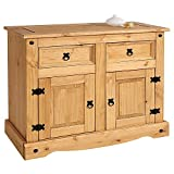 Corona Small Sideboard 2 Door 2 Drawer, Waxed Pine, 83.5cm H x 92cm W x 44cm D
