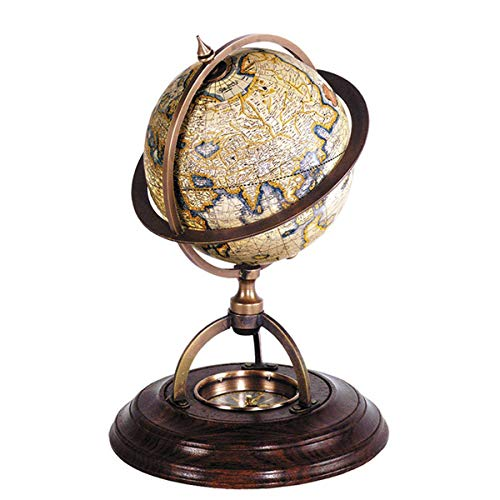 (Globes - Old World MERCATOR Desk Globe with Compass - 16TH Century MAP - 8.25