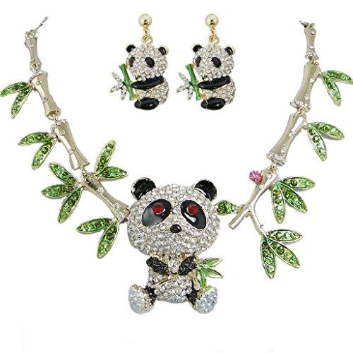 EVER FAITH Panda Bamboo Necklace Earrings Set Clear Austrian Crystal A11437-1
