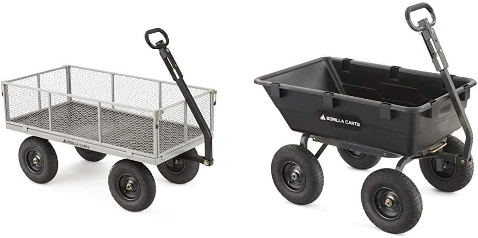 Gorilla Carts GOR1001-COM Heavy-Duty Steel Utility Cart with Removable Sides, 1000-lbs. Capacity, Gray & Heavy-Duty Poly Yard Dump Cart | 2-in-1 Convertible Handle, 1200 lbs Capacity | GOR6PS Model