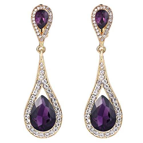 (EVER FAITH Women's Austrian Crystal Dual Tear Drop Clip-on Dangle Earrings Purple Gold-Tone)