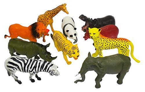 10 Pcs Large Zoo Animals - Lion, Tiger, Hippo, Elephant, Giraffe