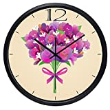 10inch Black Metal Frame Flower Gift For Lover Picture Silent Non Ticking Glass Quartz Decorative Wall Clock