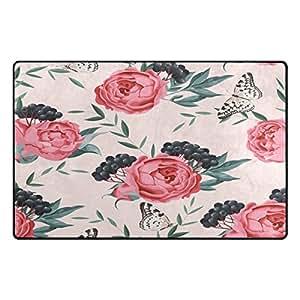Alfombra antideslizante para salón o dormitorio con diseño de flores, frutas y mariposas