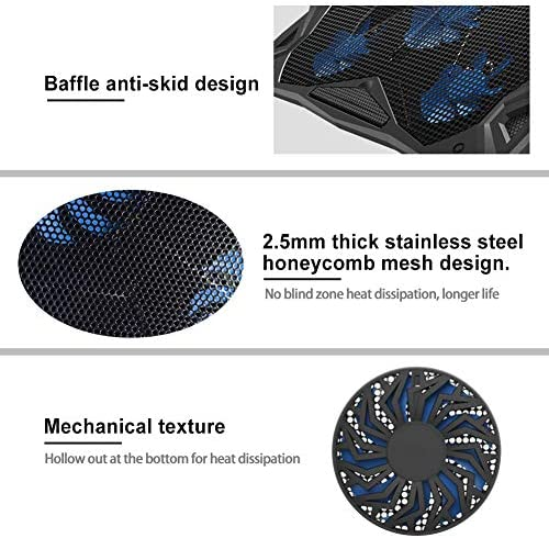 Pccooler Laptop Cooling Pad, Portable Laptop Stand with 6 Angle Adjustable & 5 Quiet Blue LED Fans for 12-17.3 Inch Gaming Laptop, Laptop Cooler Built-in Dual USB Ports Support Mouse Device, Keyboard 51 tWxq0TIL