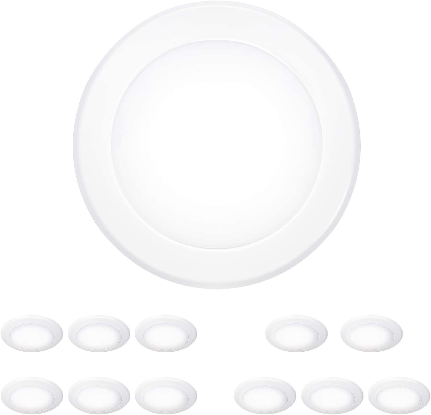 Hykolity 6 Inch Low Profile LED Disk Light, 12 Pack LED Flush Mount Ceiling Light, 15W=100W, 3000K Warm White, 1000lm, CRI90, Dimmable, Damp Rated, Hardwire to Most Junction Box, Recessed Housing Can