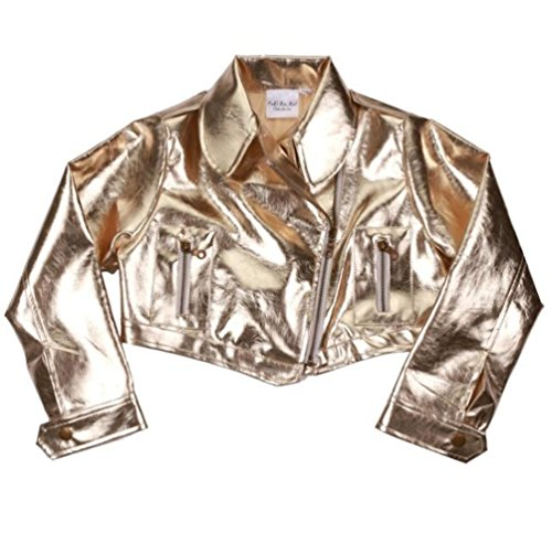 Ooh La La Couture Little Girls Gold Metallic Pleather Bolero Cropped Jacket SZ (Couture Leather Jackets)