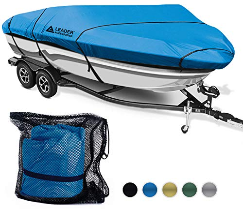 Leader Accessories 600D Polyester 5 Colors Waterproof Trailerable Runabout Boat Cover Fit V-Hull Tri-Hull Fishing Ski Pro-Style Bass Boats,Full Size (20'-22'L Beam Width up to 100'', Navy Blue) ()