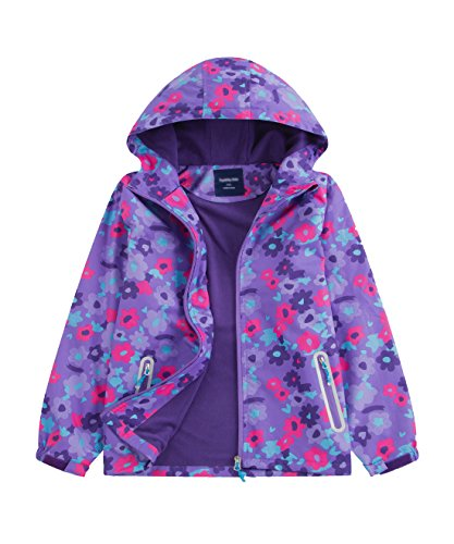 M2C Girls Outdoor Floral Fleece Lined Light Windproof Jacket with Hood 8/9 Violet by M2C