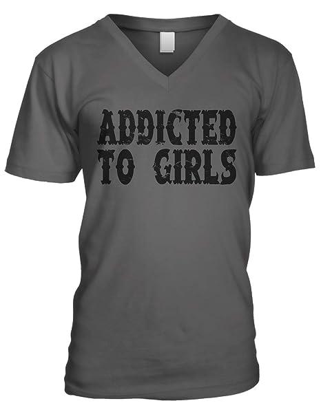 708b77576 Amazon.com: Amdesco Men's Addicted to Girls V-Neck T-Shirt: Clothing