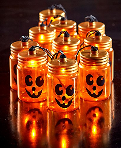 Halloween Mason Jar Jack-o-Lantern String Light - Outdoor Light O-lantern Jack