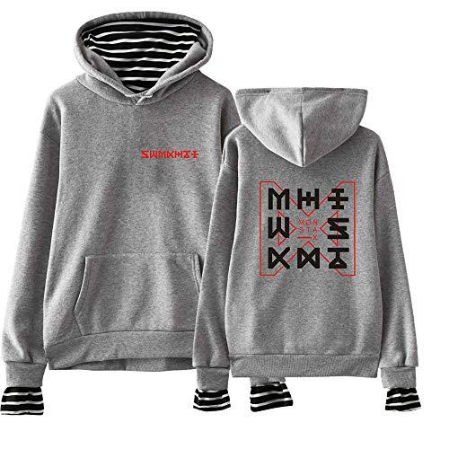 stampa confortevole pullover di casual con grigio Monsta felpe moda donna colore sciolto cappuccio X qCwRz