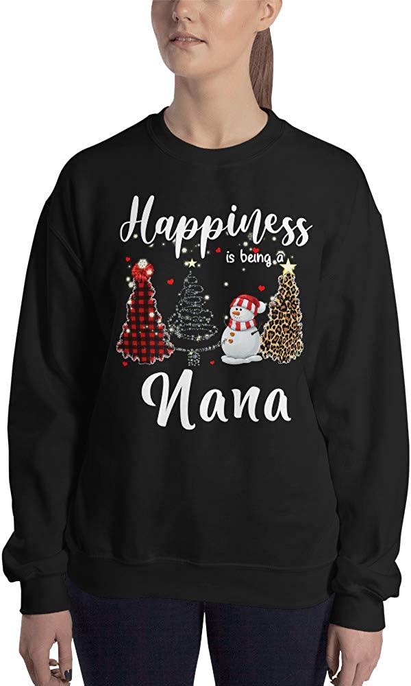 Happiness is Being A Nana Ugly Sweatshirt Sweater Buffalo Plaid Christmas Tree