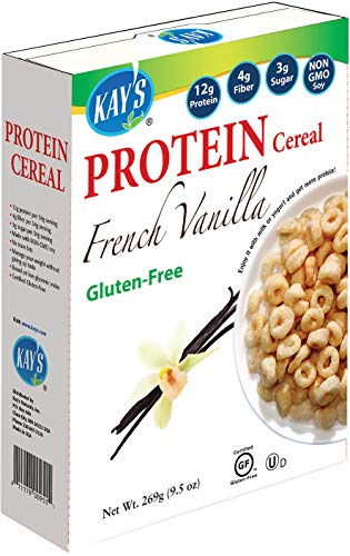Kay's Naturals Protein Breakfast Cereal, French Vanilla, Gluten-Free, Low Carbs, Low Fat, Diabetes Friendly All Natural Flavorings, 9.5 Ounce (Pack of 6)
