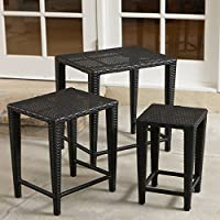 Black All Weather Wicker Nesting End Tables - Set of 3