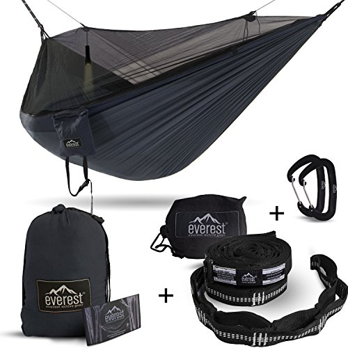 Double Hammock - Everest | Bug & Mosquito Free Camping & Outdoor Hammocks Tent Reversible Integrated BugNet YKK Zipper Ripstop Diamond Weave Nylon Carabiners & Tree Saver Straps | Navy / Charcoal
