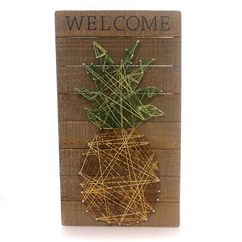 Primitives by Kathy Welcome - Pineapple String Art Plank Board Box Sign - 18-in