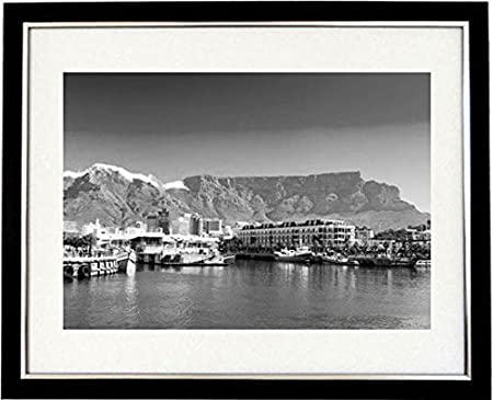 Cape town waterfront framed black white print of a panoramic view of