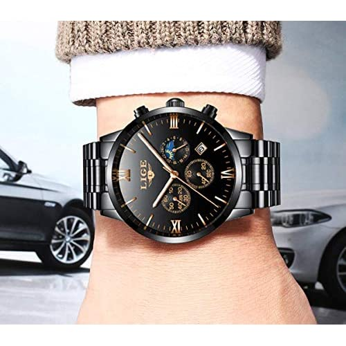 Mens Watches with Auto Date Chronograph Watch Men Sports Watches Waterproof 30M Full Steel Quartz Men's Black Watch