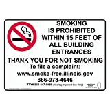 ComplianceSigns.com Aluminum Illinois No Smoking X Feet Sign, 14 x 10 with English, White