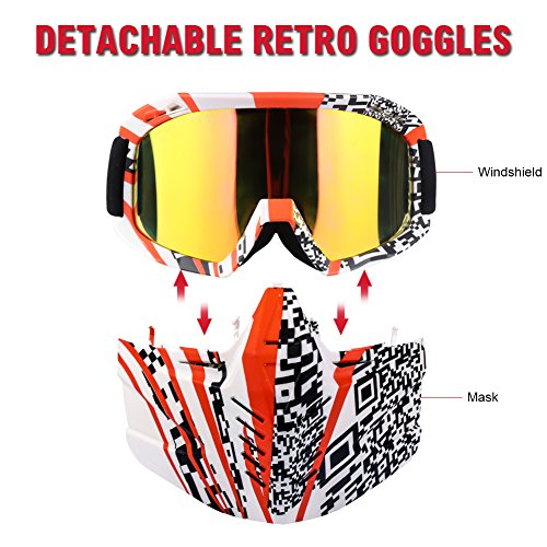 ActionEliters Motorcycle Goggles Mask Detachable Goggles, Motorcycle Motocross face mask Dirt Bike ATV MX Goggles Desert Offroad Racing Fits Men Women Youth (Red White (Red Professional Paintball Mask)