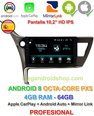 2din Gps Android 8 Ips Display Octacore Px5 64 Bit 4 Gb Ddr3 Ram 64 Gb Apple Car Play Android Auto Toyota Auris E180 Position Beim Restyling 2016 Navigation