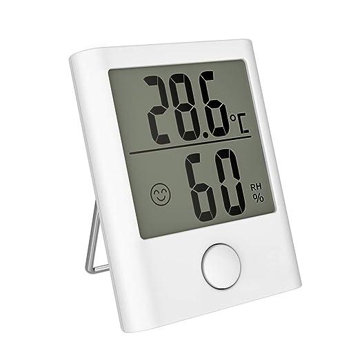 HOPLAZA Term/ómetro Higrometro Digital para Interior Medidor de Temperatura y Humedad Registros M/ínimos//M/áximos Pantalla LCD para Medir Ambiente del Hogar White