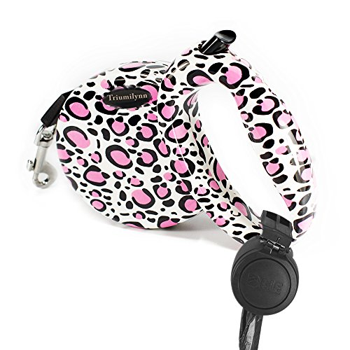 Triumilynn Pink Retractable Dog Leash 10ft Leopard Print, Stylish and Cute Cat Leashes for Small Medium Breed up to 35lbs, Brake and Lock Button, Free Waste Bag Holder - Print Leash Retractable Dog