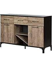 South Shore Furniture 10710 Valet Buffet with Wine Storage, Weathered Oak and Ebony