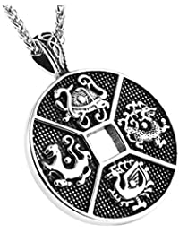 Talisman Chinese Feng Shui Four Celestial Animals Coins Pendant stainless steel Necklaces