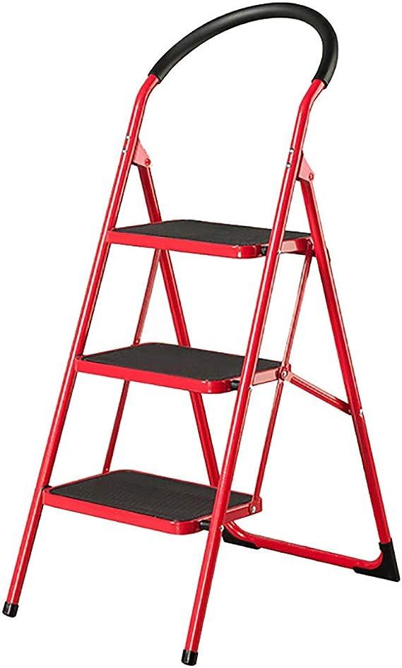 Taburete de Escalera Escalera Plegable de Metal con Plataforma de 3 Pasos Escalera móvil de hogar Silla de Ascender Pasadores Antideslizantes de Acero al Carbono Mango en Forma de Arco Rojo: Amazon.es: