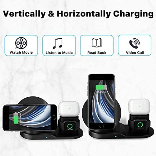 QI-EU Wireless Charger, [2020 Latest] 3 in 1 Wireless Charging Station with iWatch Stand for iWatch, Qi Fast Charger Stand for iPhone 12/12 Pro/SE/11/11 Pro Max/XR/XS Max/XS/X/8/8P, Airpods Pro/2