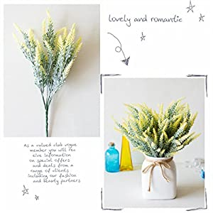 CATTREE Artificial Lavender, Plastic Plants Fake Flowers Bouquet Home Bridal Wedding Office Party Garden Balcony Indoor Outdoor DIY Centerpieces Arrangements Simulation Craft Decoration Yellow 4pcs 3