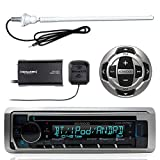 Kenwood KMR-D368BT MP3/USB/AUX Marine Boat Yacht Stereo Receiver CD Player Bundle Combo With KCARC35MR Wired Remote Control + SiriusXM Radio Tuner + Enrock Outdoor Rubber Mast 45' Antenna