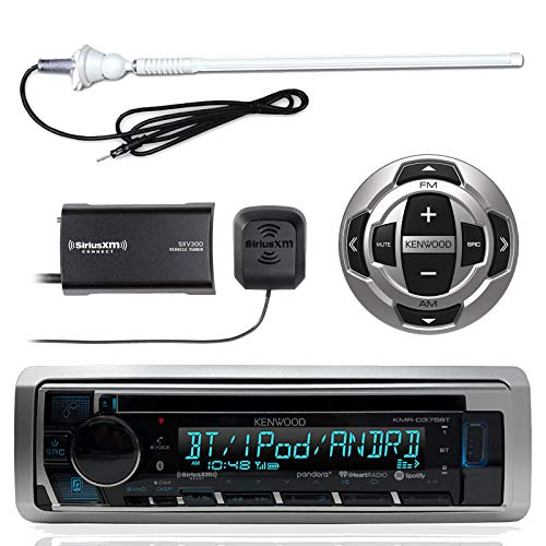 Kenwood KMR-D368BT MP3/USB/AUX Marine Boat Yacht Stereo Receiver CD Player Bundle Combo With KCARC35MR Wired Remote Control + SiriusXM Radio Tuner + Enrock Outdoor Rubber Mast 45